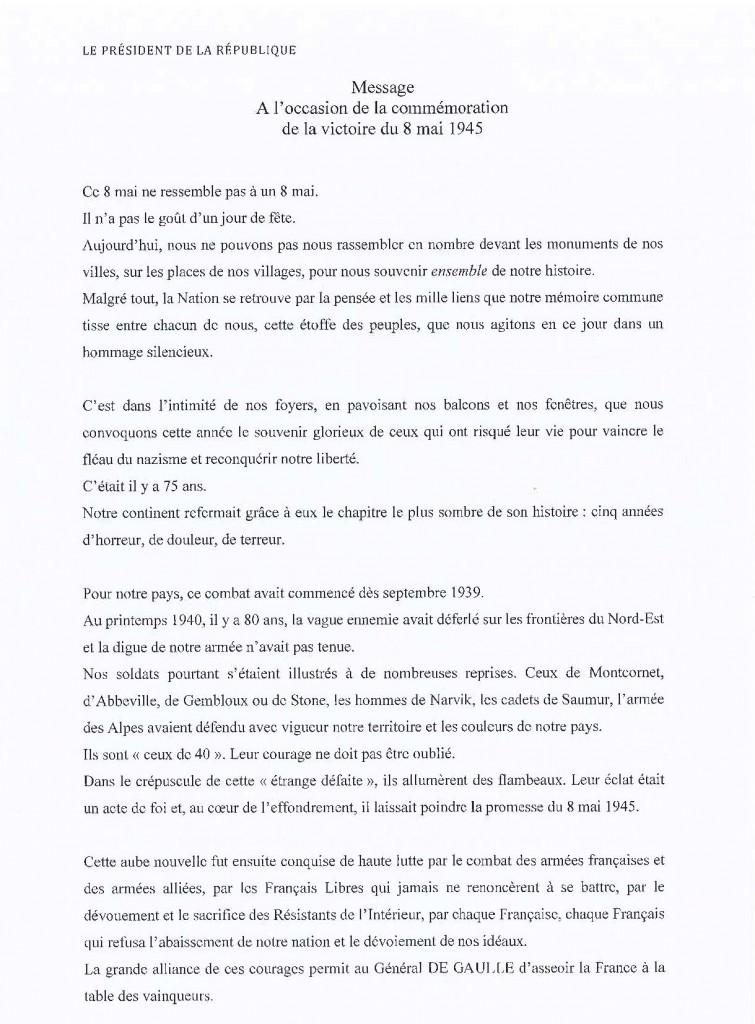 Commemoration 8 mai 1945_message pre. rep.1