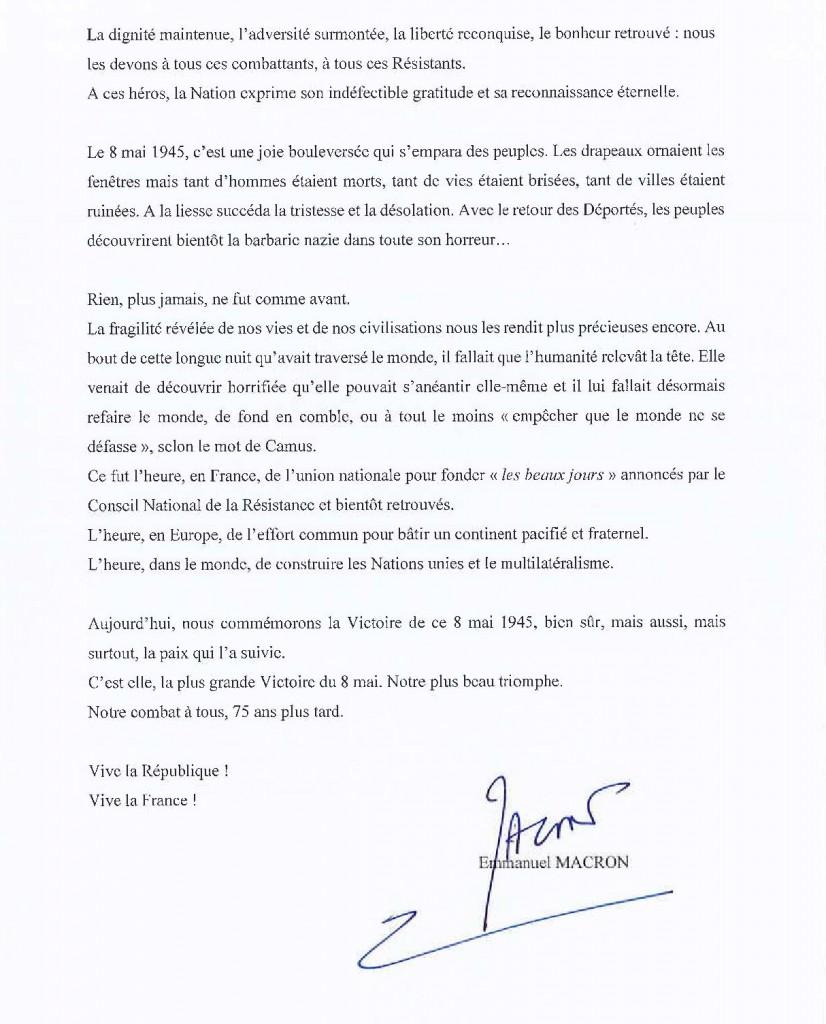 Commemoration 8 mai 1945_message pres. rep.2