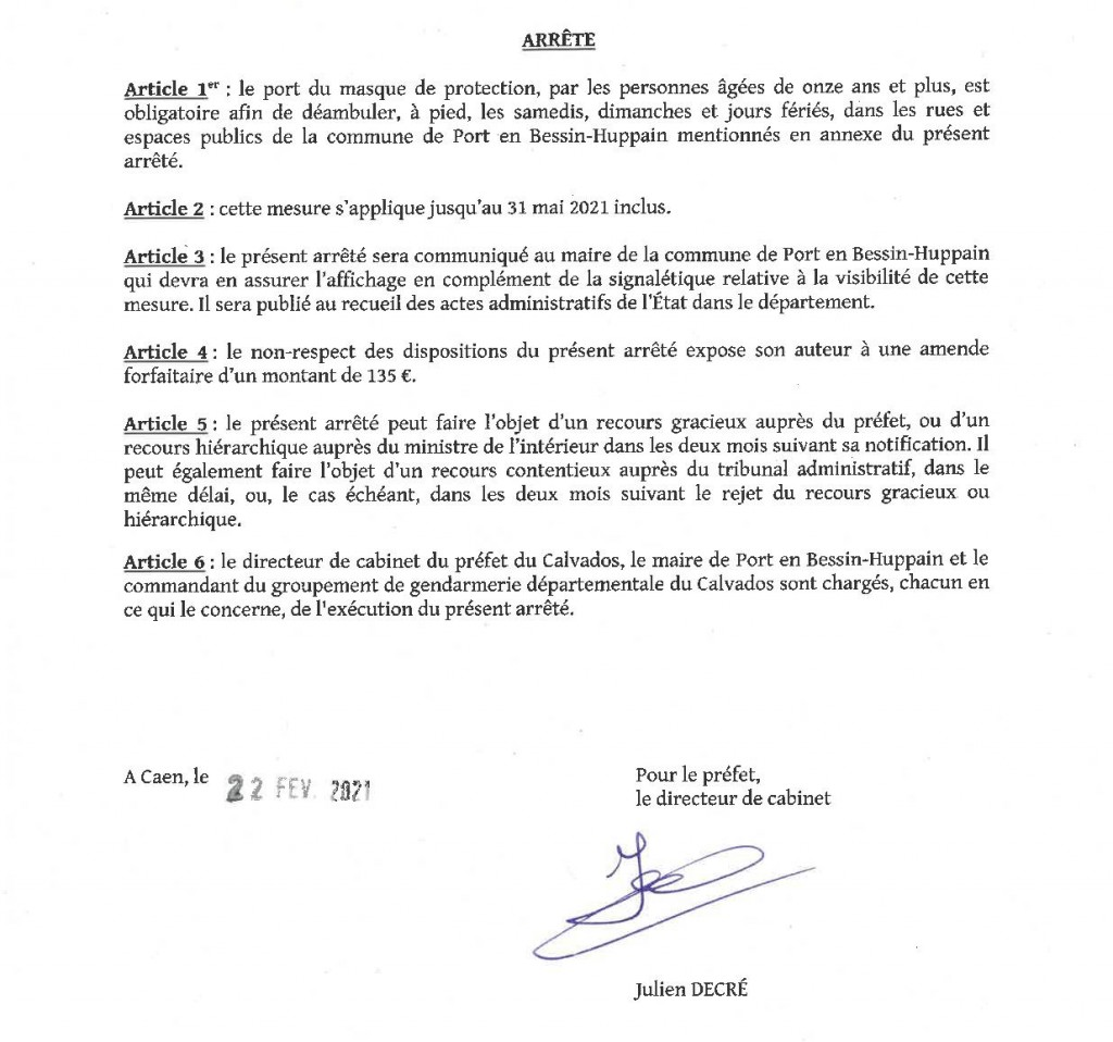 arrete prefectoral obliga port du masque2