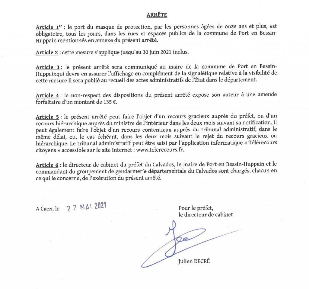 arrete prefectoral port du masque 27.05.212